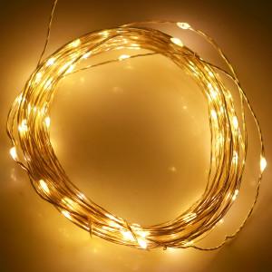 10m 5V USB Alimenté 6W 500LM SMD-0603 LED Lampe à cordes en argent Lampadaire / Décoration Light Strip, Warm White Light S100WW9-20