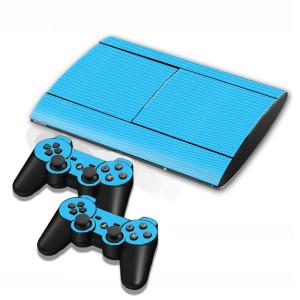 Autocollants en autocollant en fibre de carbone pour console de jeux PS3 (bleu) SA005L-20