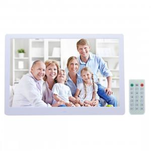Cadre photo numérique numérique 13 pouces avec support et télécommande, Allwinner F16, Support SD / MS / MMC Card et USB (Blanc) SC697W8-20