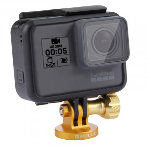 PULUZ CNC Caméscope Adaptateur pour trépied pour GoPro HERO5 / 4 Session / 4/3 + / 3/2/1, Xiaomi Yi, SJ4000, SJ5000, SJ6000 (Or) SP145J7-20