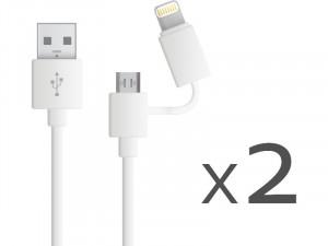 Kit Novodio Dual Cable 2 Câbles de charge/synchronisation Lightning et micro CABNVO0005D-20