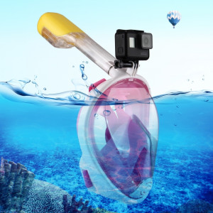 PULUZ 220mm Tube Water Sports Diving Equipment Masque Snorkel complet pour GoPro HERO5 / 4/3 + / 3/2/1, taille L / XL (rose) SP216F4-20