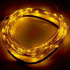 10m 12V 6W 500LM SMD-0603 LED Lampe en fil d'argent à cordon de lumière Lampe de festival / Décoration Light Strip, Warm White Light S120WW9-20