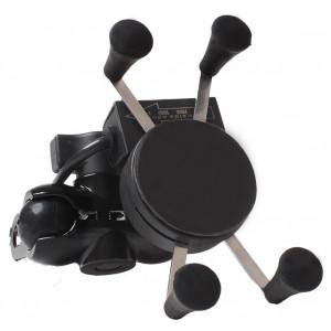 Moto Vélo Guidon Miroir X Forme Poignée pour 3.5-6.5 Pouce Support de Fixation De Téléphone Portable avec Chargeur USB CM8352312-20