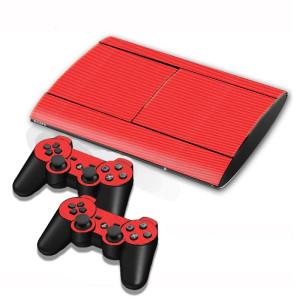 Autocollants en autocollant en fibre de carbone pour console de jeux PS3 (rouge) SA005R-20