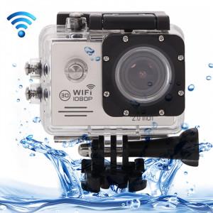 SJ7000 Full HD 1080P écran LCD 2,0 pouces Novatek 96655 Caméra caméscope sans fil WiFi avec étui étanche, objectif grand angle HD de 170 degrés, 30m étanche (argenté) SS123S2-20