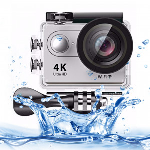 H9 4K Ultra HD1080P 12MP Caméra de sport WiFi de 2 pouces à écran LCD, Grand angle de 170 degrés, 30m étanche (Argent) SH086S0-20