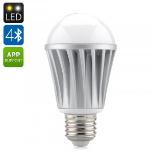 Ampoule LED 7W E27 RGBW Bluetooth 550 lumens / Application pour iOS + Android / LED Epistar / Angle 120 degres C79807-20