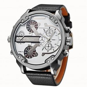 Montre en cuir de luxe élégante Oulm Men Business à deux fuseaux horaires Quartz Blanc C9683778-20