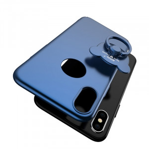 AIQAA pour iPhone X Solid Color Metal Paint Plastic PC Dropproof Boîtier de protection avec Bear Ring Holder (Dark Blue) SA454D5-20