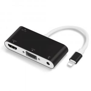 Convertisseur pour Lightning vers HDMI VGA AV Câble de l'adaptateur TV Audio pour iPhone X iPhone 8 7 7 Plus 6 6S Pour iPad Série noir C08NV518096-20