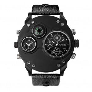 Montre de sport homme Oulm Quartz Multifonction Double fuseau horaire Compass au poignet Noir C9645436-20