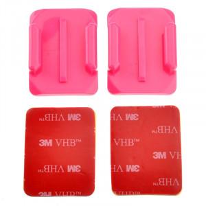 ST-12 2 x adaptateurs de surface courbée + 2 autocollants adhésifs pour GoPro HERO4 / 3+ / 3/2/1 (rose) SS045F2-20