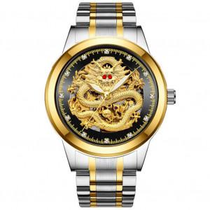 Hommes en acier inoxydable de luxe étanche Dragon fond montre-bracelet automatique Montres mécaniques à remontage automatique Argent noir C6988615-20