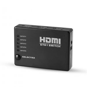 Commutateur HDMI 5 ports 1080P Répartiteur HDMI 3D avec télécommande sans fil IR pour HDTV DVD PS3 XBox 360 Noir C3124JEPL7200-20