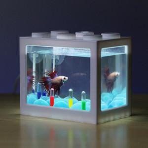 Mini aquarium avec bocal à poissons pour décoration de table à thé pour bureau à domicile, blanc C04V4Y10814-20