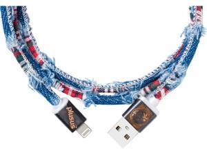 PlusUs LifeStar Premium Denim Checks Câble Lightning vers USB 1 m CABPLS0001-20