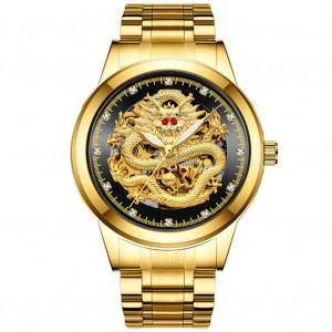 Hommes en acier inoxydable de luxe étanche Dragon fond montre-bracelet à remontage automatique mécanique montres or noir C69401859-20