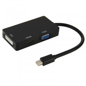 Mini DisplayPort Male to HDMI + VGA + DVI Adaptateur femelle Câble convertisseur pour Mac Book Pro Air, Longueur de câble: 17cm (Noir) SM620B-20