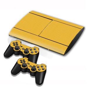 Autocollants en autocollant en fibre de carbone pour console de jeux PS3 (jaune) SA005Y-20