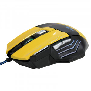 7 boutons avec la molette de défilement 5000 DPI LED Wired Optical Gaming Mouse pour PC PC portable (jaune) S7053Y6-20