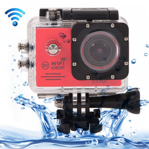 SJ7000 Full HD 1080P écran LCD 2,0 pouces Novatek 96655 Caméra caméscope sport WiFi avec étui étanche, 170 degrés Lentille grand angle HD, 30 m imperméable (rouge) SS123R7-20