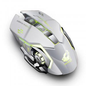 Souris optique USB de souris de jeu rétro-éclairée silencieuse rechargeable sans fil gratuite de Wolf X8 pour PC, blanc C814468-20