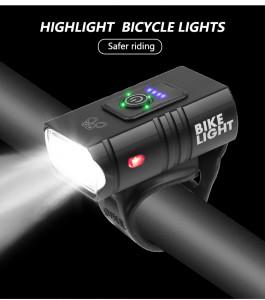 2 T6 LED Lampe de Poche Haute Luminosité USB Lampe de Poche Rechargeable de Lumière de Vélo pour Extérieur Blanc light_Model Z-03A C0H1CO5426-20