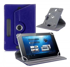 7/8/9/10 Etui de protection pour tablette en cuir universel à 360 degrés pivotant en cuir, bleu foncé_8 pouces C1082-20
