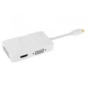 3 en 1 Mini DisplayPort mâle vers HDMI + VGA + DVI convertisseur femelle pour Mac Book Pro Air, longueur de câble: 8cm (blanc) S3570W-20
