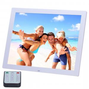 14 pouces HD écran LED cadre photo numérique avec support et télécommande, Allwinner, réveil / MP3 / MP4 / lecteur de film (blanc) S1562W1-20