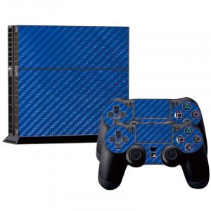 Autocollants en autocollant en fibre de carbone pour console de jeux PS4 (bleu) SA022L-20