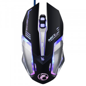 IMICE V8 LED Colorful Light USB 6 boutons 4000 DPI Wired Optical Gaming Mouse pour PC PC portable (noir) SI165B6-20