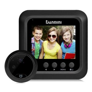 Danmini W5 2.4 pouces écran 2.0MP caméra de sécurité sans dérangement visionneuse de judas, carte TF de soutien / vision nocturne / enregistrement vidéo (noir) SD255B479-20