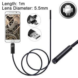 Caméra d'inspection de tube de serpent imperméable USB et endoscope USB 2 en 1 avec 6 DEL pour le plus récent téléphone OTG Android, longueur: 1 m, diamètre de la lentille: 5,5 mm SH05121683-20
