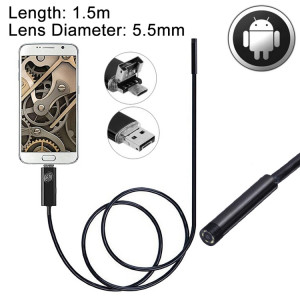 2 en 1 micro caméra d'endoscopie USB et endoscope USB caméra d'inspection de tube de serpent avec 6 DEL pour le plus récent téléphone OTG Android, longueur: 1,5 m, diamètre de la lentille: 5,5 mm SH05131477-20