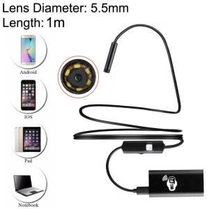 0.3MP HD Caméra 30m Sans Fil Distance Métal WiFi Box Étanche IPX67 Endoscope Snake Tube Inspection Caméra avec 6 LED pour Android & iOS, Longueur: 1m, Diamètre de l'Objectif: 5.5mm (Noir) SH163B152-20