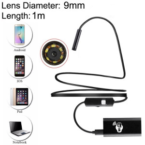 2.0MP HD Caméra 30m Sans Fil Distance Métal WiFi Box Étanche IPX67 Endoscope Snake Tube Inspection Caméra avec 6 LED pour Android & iOS, Longueur: 1m, Diamètre de l'Objectif: 9mm (Noir) SH164B1517-20