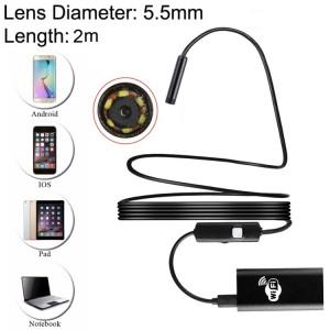 0.3MP HD Caméra 30m Sans Fil Distance Métal WiFi Box Étanche IPX67 Endoscope Snake Tube Inspection Caméra avec 6 LED pour Android & iOS, Longueur: 2m, Diamètre de l'Objectif: 5.5mm (Noir) SH165B88-20
