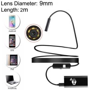 2.0MP HD Caméra 30m Distance Sans Fil Métal WiFi Box Étanche IPX67 Endoscope Tube à Inspection Tube à Serpentet avec 6 LED pour Android et iOS, Longueur: 2m, Diamètre de l'Objectif: 9mm (Noir) SH166B225-20