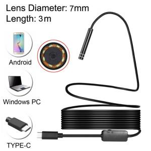 Caméra d'inspection à tube de serpent étanche IP67 à endoscope USB-C / Type-C avec 8 LED et adaptateur USB, longueur: 3 m, diamètre de la lentille: 7 mm SH08461114-20