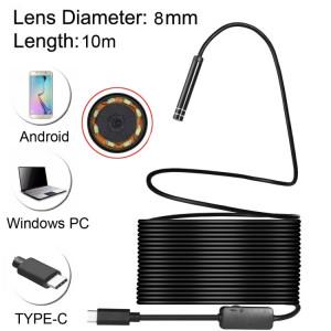 Caméra d'inspection à tube de serpent étanche endoscope USB-C / Type-C avec 8 LED et adaptateur USB, longueur: 10 m, diamètre de l'objectif: 8 mm SH08541219-20
