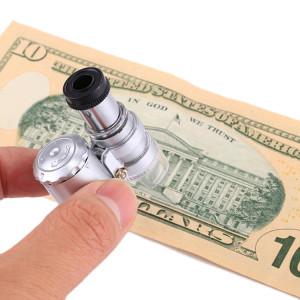 Mini microscope portatif d'évaluation de bijoux 60X avec fonction de détection de lumière et de devise LED SH15171354-20