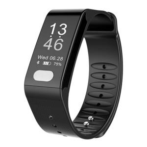 TLW T6 Fitness Tracker 0,96 pouces OLED Bracelet à bracelet intelligent, Mode Sport de soutien / ECG / moniteur de fréquence cardiaque / Pression artérielle / moniteur de sommeil (noir) SH216B1069-20