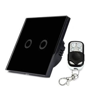 86mm 2 Gang 1 Way Verre Trempé Panneau Interrupteur Mural Smart Home Light Touch Interrupteur avec RF433 Télécommande, AC 110V-240V (Noir) S8142B1177-20