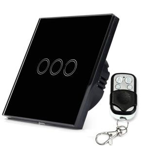 86mm 3 Gang 1 Way Verre Trempé Panneau Interrupteur Mural Smart Home Lumière Interrupteur Tactile avec RF433 Télécommande, AC 110V-240V (Noir) S8143B1763-20