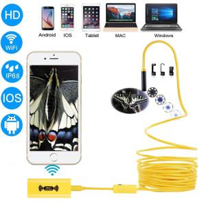 Caméra d'inspection de tube de serpent d'endoscope de WiFi de pixels de 1200P HD avec 8 LED, IP68 imperméable, diamètre de lentille: 8mm, longueur: 10m, ligne dure (jaune) SH555Y50-20