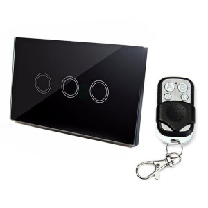 120mm 3 Gang 1 Way Verre Trempé Panneau Interrupteur Mural Smart Home Light Touch avec RF433 Télécommande, AC 110V-240V (Noir) S1332B1490-20