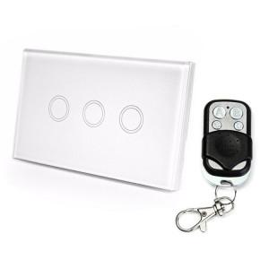 120mm 3 Gang 1 Way Verre Trempé Panneau Interrupteur Mural Smart Home Light Touch Interrupteur avec RF433 Télécommande, AC 110V-240V (Blanc) S1332W1521-20