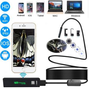 Caméra d'inspection de tube de serpent d'endoscope de WiFi de l'appareil-photo 2.0MP HD avec 8 LED, IP68 imperméable, diamètre de lentille: 8mm, longueur: 3.5m, ligne dure SH6664697-20
